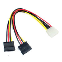 IDE Molex to 2 Serial SATA Y Splitter 4 Pin Hard Drive Power Adapter Cable Cord
