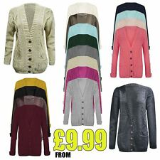 Ladies Chunky Top Long Sleeve Womens Aran Cable Knitted Grandad Cardigan UK 8-26