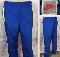 Vintage Nike Track Pants Windbreakers 90s Retro Shiny Gloss Swoosh Men L Lined