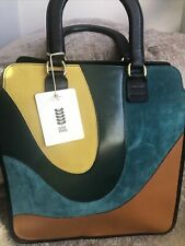 Orla Kiely Leather swirl stripe Large Carrie bag lovely Autum Colours