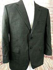Ralph Lauren Men Houndstooth Wool Blazer Sport Coat Jacket Size 44R Gray Blue