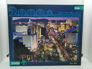 "New Buffalo Games Puzzle 2000 Piece ""Vegas, Baby!"" BONUS POSTER Las Vegas"