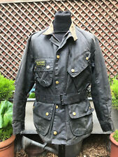 Vtg Barbour International suit belted wax jacket size m-42""