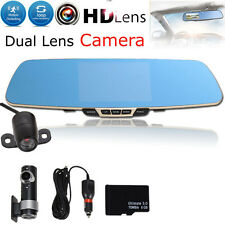"5.0"" HD 1080P In-Car Rear View Mirror Dash DVR Recorder Dual Lens Camera Monitor"