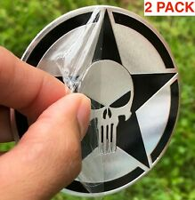"(2 PACK) METAL PUNISHER Emblem Sticker Decal For Truck, Bike, Auto 3"" diameter"