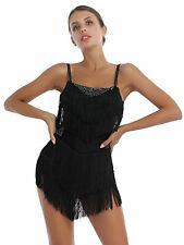 Women Latin Dance Dresses Club Party Dancer Singer Fringe Tassel Dress #M