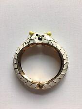 Hinged White bangle bracelet Rare Kate Spade Birds enamel kissing Cockatoo