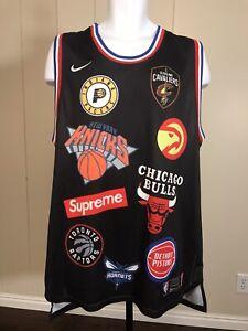 Nike X Supreme X NBA Basketball Teams Logo Black Jersey Aeroswift Sz XXL 54 2XL