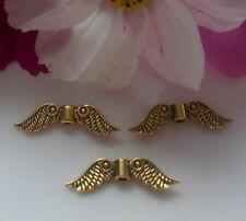 50 Engelsflügel Flügel antik gold Metallperle 24x7mm Spacer Perlen DIY Basteln