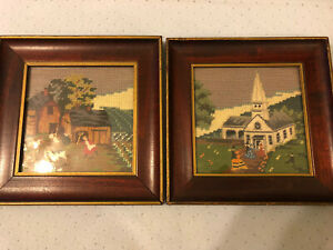 1957 Americana Farm Church Embroidered Hand Stitch Stitched Framed Pair Cow Red