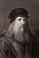 Leonardo Da Vinci Portrait Sepia Etching Poster 12x18 inch