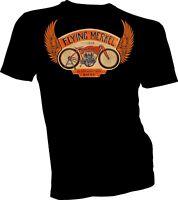 Flying Merkel Motorcycle Indian Harley Davidson Mens Unisex T Tee Shirt Black s