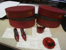 Fitz & Floyd Glass Menagerie Sedona Red Hat, Handbag, & Shoes w/ boxes !