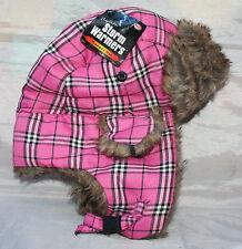 NUOVO STORM GILET IMBOTTITI Trapper Hat in rosa a quadretti-Foderato Con Finta Pelliccia-taglia 58