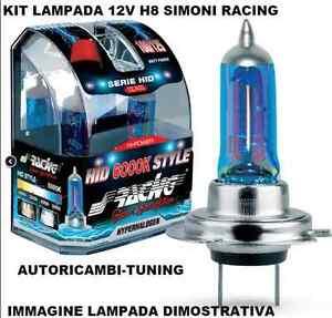 KIT 2 LAMPADE EFFETTO XENON LUCE BIANCA 12V H8 6000K HID STYLE SIMONI RACING