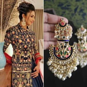 Indian Bollywood Gold Plated Pearl Earrings Wedding Polki Jhumki Women Jewelry