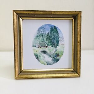 Vintage Hand Painted Small Framed Tile Ellastone Mill Staffordshire Bridge River
