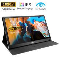 """Portable Monitor 15.6"""" IPS FHD HDMI Computer Display 1920×1080P USB C Gaming US"""