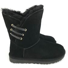 Ugg Constantine Leather Lacing Classic Silhouette Black Women's Boots Size 6