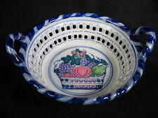 Blue and White Openwork Ceramic Fruit Basket Bowl Candy Cane Style Trim Handles