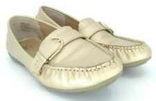Bass Betsy Loafer Women's Sz 8.5 M Gold Leather Buckle Slip On Driving Moc Shoes