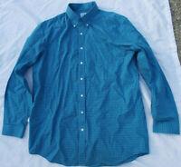 L.L LL Bean Traditional Fit Mens Size L Tall Blue Check Plaid Long Sleeve Shirt
