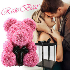 Red Pink Blue Rose Bear Flower Teddy Toy 40cm Gift Box Set For Valentine's Day