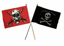 "12x18 12""x18"" Wholesale Combo Pirate Crimson & Commitment Excellence Stick Flag"