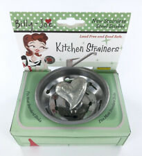 Kitchen Sink Strainer Basket with Heart Design Post, stainless steel and pewter