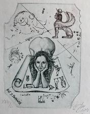 G. Hujber (Czech) Hieroglyphics Sphinx exlibris Erotic Nude Etching Radierung