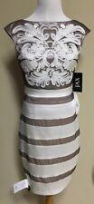 JAX Ivory/Taupe Bodycon Dress 4 NWT