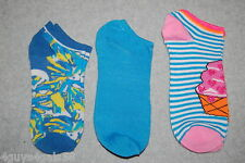Womens 3 PR LOT Ankle Socks TURQUOISE Tie Dye PINK CUPCAKE Stripe SHOE SIZE 4-10