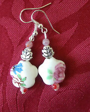 Porcelain 15mm beads,leaf tibetan bead, silver plated, millefiori,pink (241)