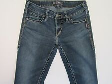 Women's Silver Aiko Bootcut Distressed Med Wash Jeans Retro VTG Grunge SZ 28x32