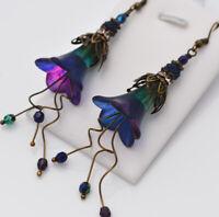 Unique Handmade Floral Dangle Blue Purple Green Lucite Flower Gift Earrings