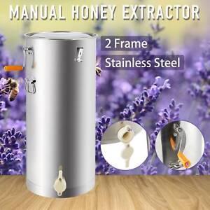 "29"" Honey Extractor Beekeeping SS Honey Drum 2/4 Frame Manual Honey Bee"