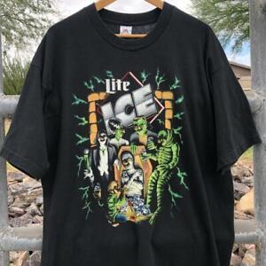 VTG 90s Miller Lite Ice Groucho Marx Halloween Lightning Print Beer T Shirt 2XL