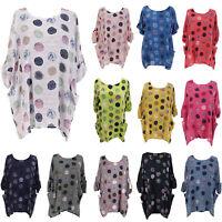 Womens Boho Polka Dot Blouse Spotty Tunic Lagenlook Casual Blouse T-Shirt Tops