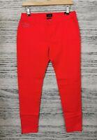 Gorgio Armani Red Rosso Iris J50 Skinny Fit Side Zips Jeans Size 27
