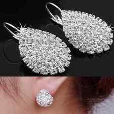 Korean Womens Full Crystal Teardrop Silver Hoop Dangle Earrings Fashion Jewelry