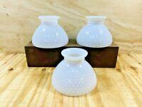 "3 Vintage White Hobnail Milk Glass Oil / Electric Hurricane Lamp Shade 8"" Fitter"