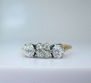 Antique 18ct Yellow Gold 1.10ct Natural Old Mine Cut Diamond Trilogy Ring Size M