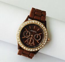 CHOCOLATE BROWN SILICONE WRIST WATCH With a BROWN/ DIAMANTE Face, UK SELLER