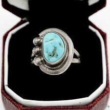 Antique Vintage Sterling Silver Native Pawn Navajo Blue Turquoise Ring Sz 5.5