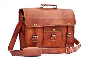 New Goat Leather Vintage Brown Messenger Shoulder Laptop Bag Briefcase Satchel