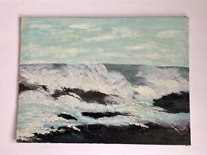 "Vintage 50's Crashing Waves Seaside Ocean Oil Painting on Canvas Board 9"" x 12"""