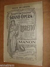 Libretto Manon by Massenet Metropolitan Opera House Italian English