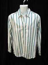 Mens Tommy Bahama White Aqua Striped Silk Blend Shirt Size M Medium