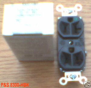 NEW P&S 8300-HBK 20 AMP 125 V 5-20R DUPLEX RECEPTACLE