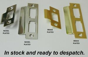 STRIKE PLATE FOR TUBULAR DOOR MORTICE LATCHES LOCKS NICKEL OR BRASS FRAME PLATES